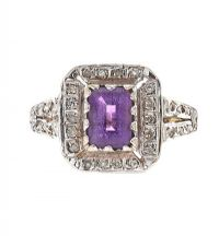9CT GOLD AMETHYST AND DIAMOND RING at Ross's Jewellery Auctions