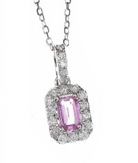 18CT WHITE GOLD PINK SAPPHIRE AND DIAMOND NECKLACE at Ross's Auctions