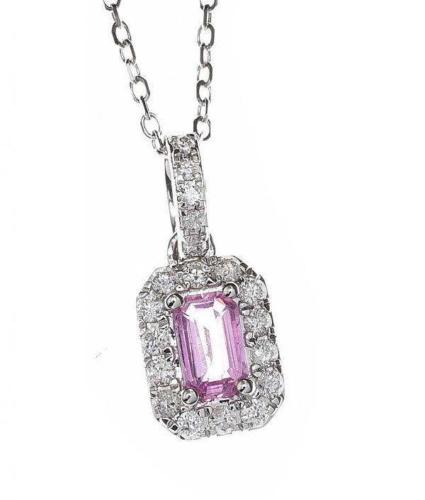 18CT WHITE GOLD PINK SAPPHIRE AND DIAMOND NECKLACE at Ross's Online Art Auctions