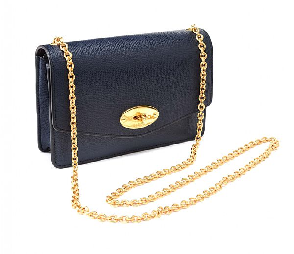 MULBERRY NAVY LEATHER CROSSBODY BAG at Ross's Online Art Auctions