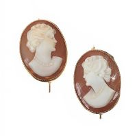 9CT GOLD CAMEO EARRINGS at Ross's Jewellery Auctions