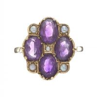EDWARDIAN 9CT GOLD AMETHYST AND PEARL RING at Ross's Jewellery Auctions