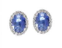 18CT WHITE GOLD SAPPHIRE AND DIAMOND EARRINGS at Ross's Auctions