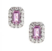 18CT WHITE GOLD PINK SAPPHIRE AND DIAMOND EARRINGS at Ross's Auctions