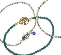 THREE STERLING SILVER AND TURQUOISE BEADED BRACELETS at Ross's Jewellery Auctions