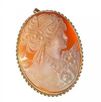 9CT AND FINE CARVED OVAL CAMEO BROOCH / PENDANT at Ross's Jewellery Auctions