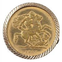 9CT GOLD MOUNTED FAUX COIN at Ross's Jewellery Auctions