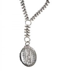 VICTORIAN SILVER COLLAR AND LOCKET at Ross's Auctions