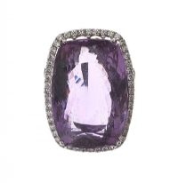 18CT WHITE GOLD RING SET WITH AMETHYST AND DIAMOND at Ross's Jewellery Auctions