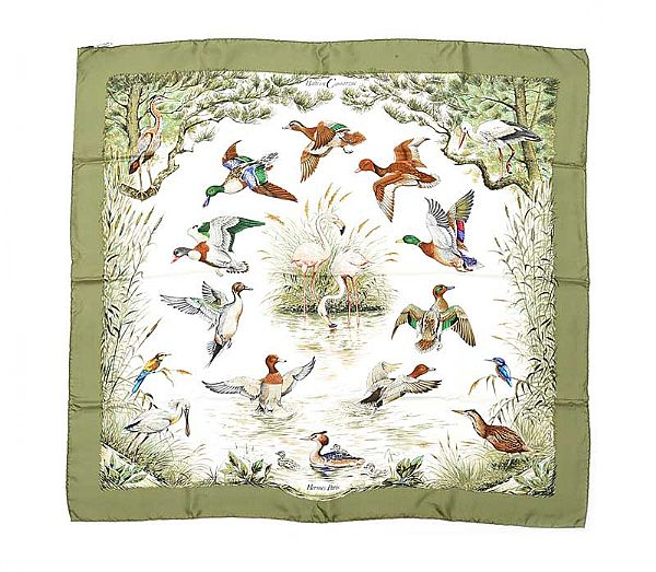 HERMES 'HALTE EN CAMARGUE' SILK SCARF WITH PRESENTATION BOX at Ross's Online Art Auctions