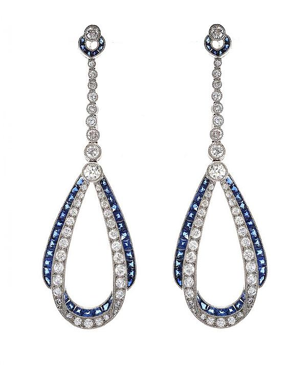 18CT WHITE GOLD SAPPHIRE AND DIAMOND DROP EARRINGS at Ross's Online Art Auctions