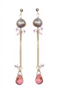 9CT GOLD PEARL AND TOURMALINE DROP EARRINGS at Ross's Jewellery Auctions