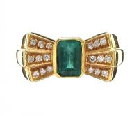 18CT GOLD EMERALD AND DIAMOND RING at Ross's Jewellery Auctions