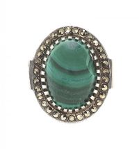 SILVER RING SET WITH MALACHITE AND MARCASITE at Ross's Jewellery Auctions