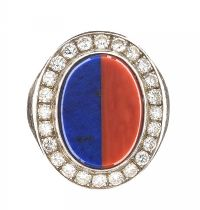 18CT GOLD CORAL, LAPIS LAZULI AND DIAMOND RING at Ross's Jewellery Auctions