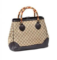 GUCCI BAMBOO CLASSIC MONOGRAMMED HANDBAG at Ross's Jewellery Auctions