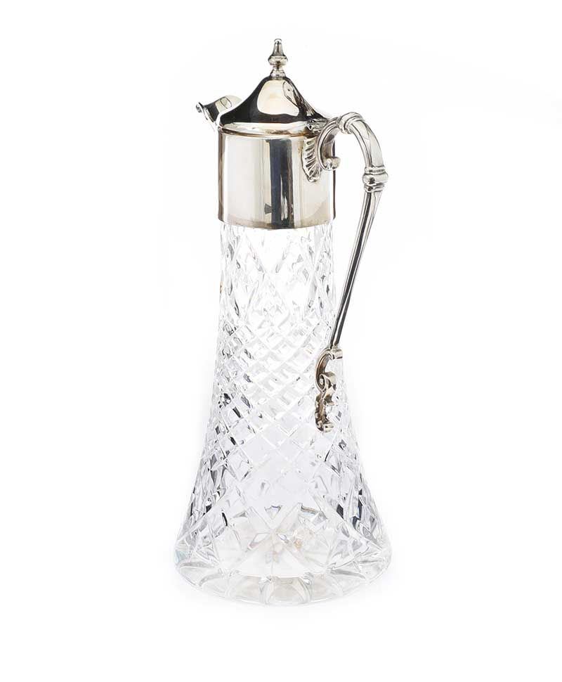 FINE CUT-GLASS CLARET JUG WITH STAR CUT BASE AND SILVER MOUNTS at Ross's Online Art Auctions