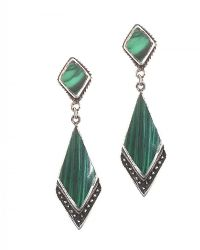 STERLING SILVER AND MALACHITE DROP EARRINGS at Ross's Jewellery Auctions