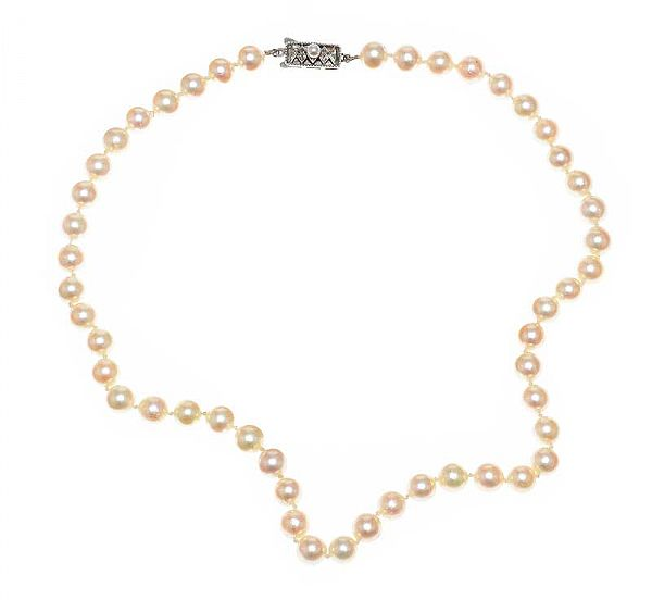 MIKIMOTO STRAND OF CULTURED PEARLS WITH PIERCED SILVER CLASP at Ross's Online Art Auctions