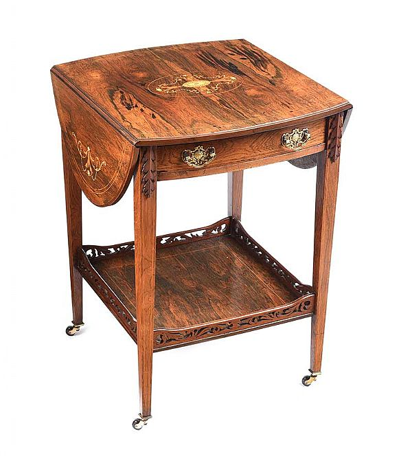EDWARDIAN ROSEWOOD DROP LEAF TABLE at Ross's Online Art Auctions