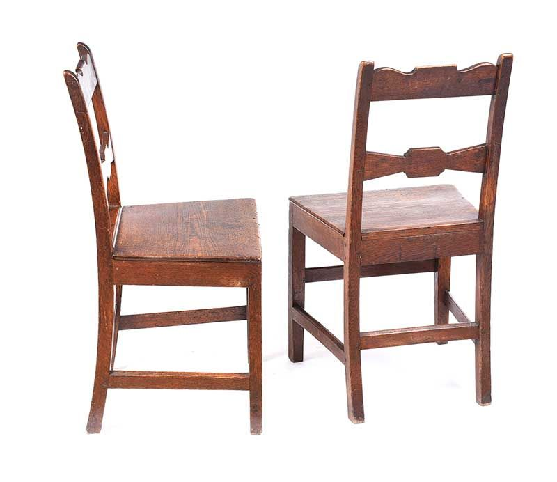PAIR OF GEORGIAN OAK SIDE CHAIRS at Ross's Online Art Auctions