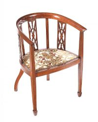 EDWARDIAN INLAID MAHOGANY TUB CHAIR at Ross's Auctions