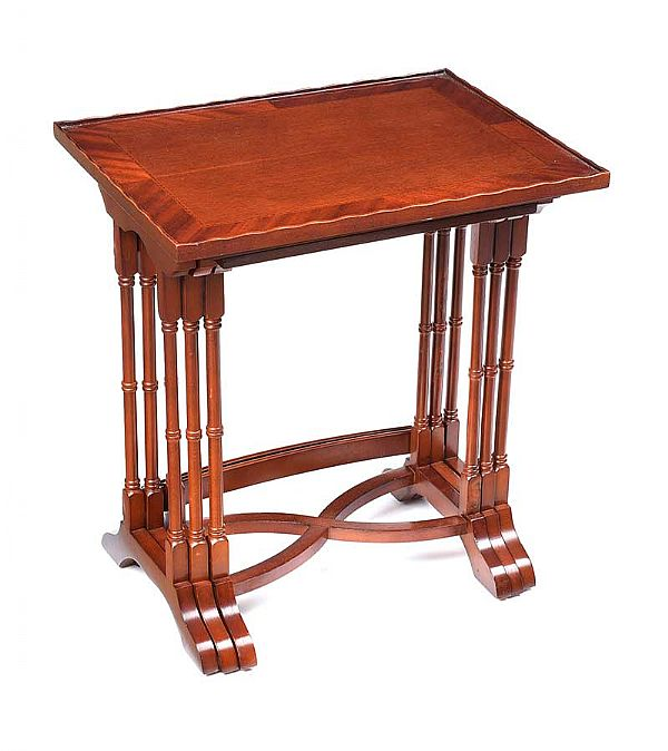 INLAID MAHOGANY NEST OF THREE TABLES at Ross's Online Art Auctions