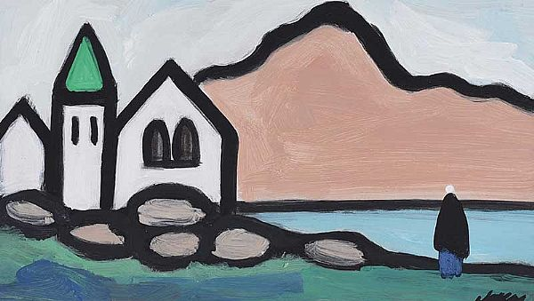 VILLAGE BY THE SHORE by Markey Robinson at Ross's Online Art Auctions