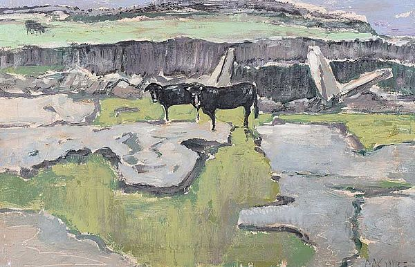 CATTLE & WETLANDS by Cecil Maguire RUA at Ross's Online Art Auctions