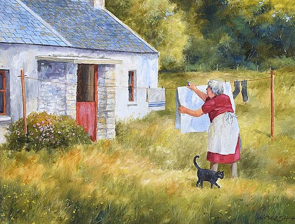 THE WASHING LINE by Noel Shaw at Ross's Online Art Auctions