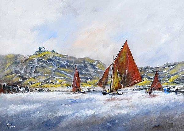 GALWAY HOOKERS AT INISHEER, COUNTY GALWAY by Niall Campion at Ross's Online Art Auctions
