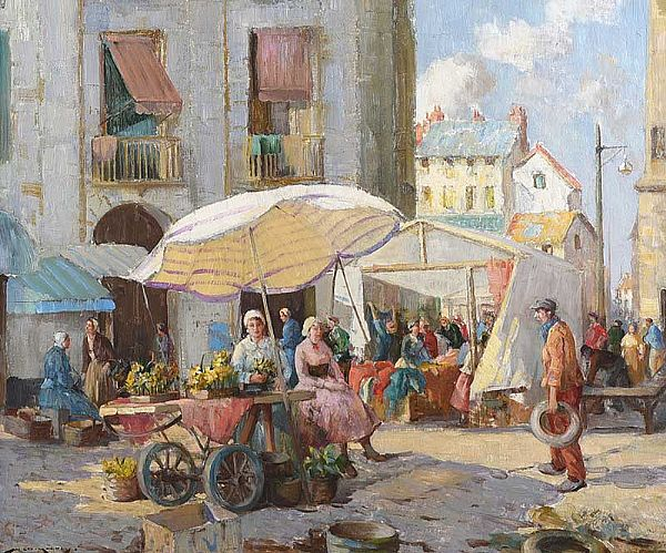 THE QUAY MARKET, DIEPPE by William Lee Hankey RWS RI at Ross's Online Art Auctions