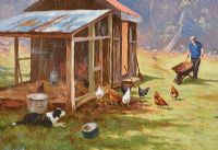 CHICKENS FEEDING by Donal McNaughton at Ross's Auctions