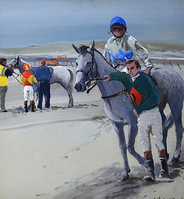 FIRST RACE, OMEY STRAND by Cecil Maguire RUA at Ross's Online Art Auctions