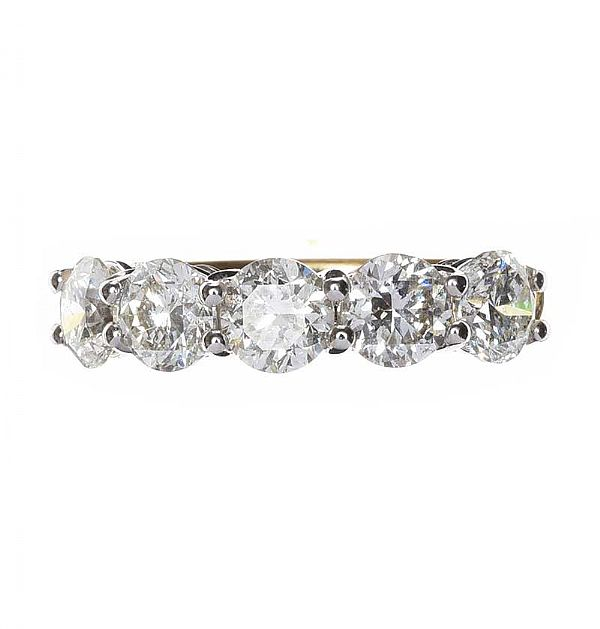 18CT GOLD DIAMOND FIVE STONE RING at Ross's Online Art Auctions