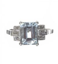 PLATINUM AQUAMARINE AND DIAMOND RING IN THE STYLE OF ART DECO at Ross's Auctions