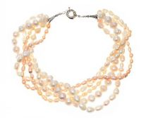 SIX-STRAND FRESHWATER PEARL NECKLACE WITH SILVER-TONE CLASP at Ross's Jewellery Auctions