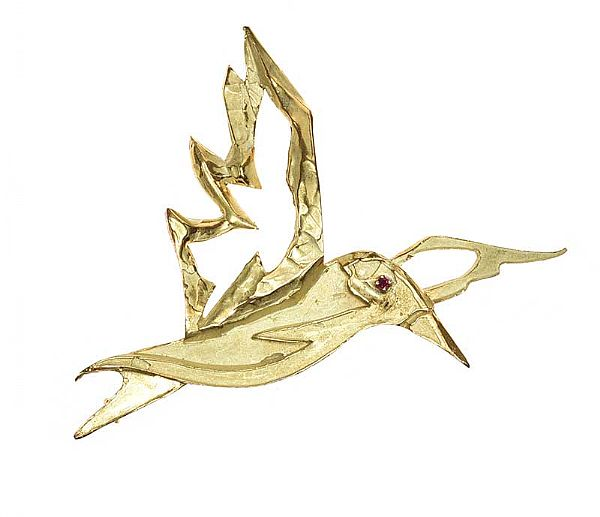 CHAUMET 18CT GOLD RUBY-SET BIRD BROOCH at Ross's Online Art Auctions