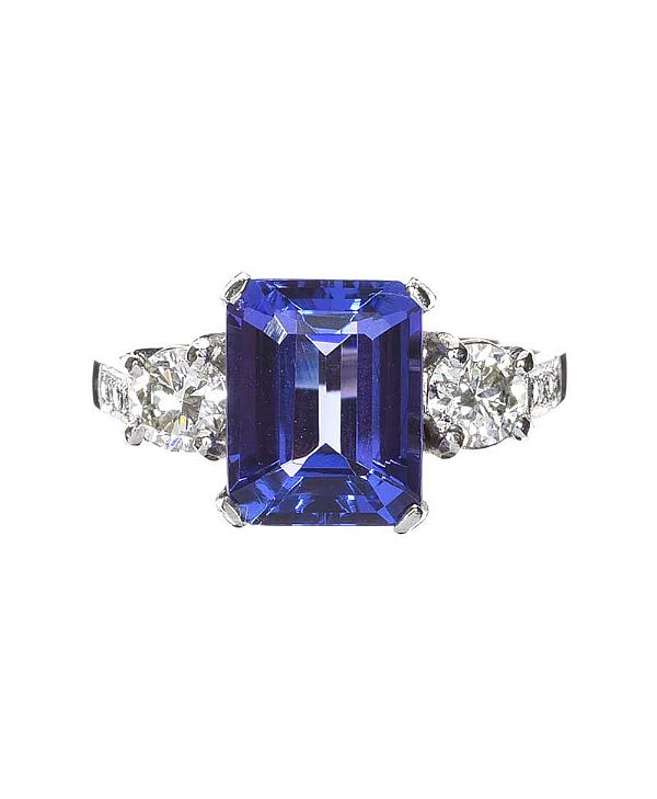 PLATINUM TANZANTE AND DIAMOND THREE STONE RING at Ross's Online Art Auctions