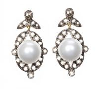 SILVER-ON-GOLD FRESHWATER PEARL AND DIAMOND DROP EARRINGS at Ross's Jewellery Auctions