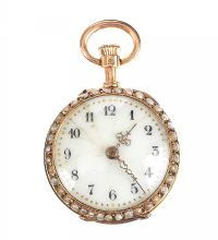 FRENCH 18CT GOLD LADY'S FOB WATCH SET WITH SEED PEARLS AND DIAMONDS at Ross's Jewellery Auctions