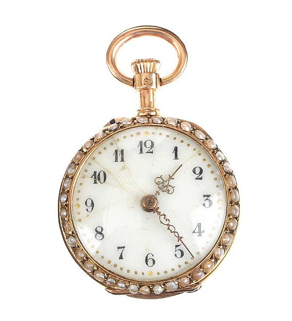 FRENCH 18CT GOLD LADY'S FOB WATCH SET WITH SEED PEARLS AND DIAMONDS at Ross's Online Art Auctions