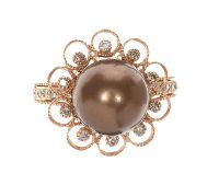 18CT ROSE GOLD BRONZE FRESHWATER PEARL AND DIAMOND RING at Ross's Jewellery Auctions