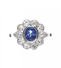 PLATINUM SAPPHIRE AND DIAMOND CLUSTER RING at Ross's Online Art Auctions