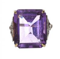 GOLD DRESS RING SET WITH AMETHYST AND DIAMOND at Ross's Jewellery Auctions