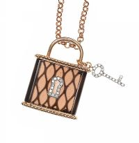 18CT ROSE GOLD PADLOCK PENDANT SET WITH SMOKY QUARTZ AND DIAMOND at Ross's Jewellery Auctions