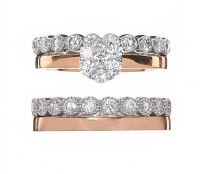 SET OF TWO 18CT ROSE AND WHITE GOLD DIAMOND RINGS at Ross's Auctions