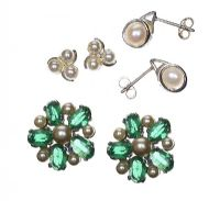 THREE PAIRS OF PEARL-SET EARRINGS at Ross's Jewellery Auctions