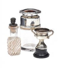 TWO PERFUME BOTTLES AND A SMALL TROPHY CUP at Ross's Jewellery Auctions