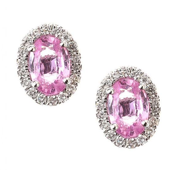18CT WHITE GOLD PINK SAPPHIRE AND DIAMOND EARRINGS at Ross's Online Art Auctions